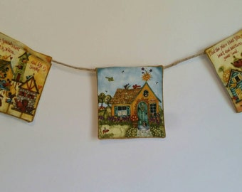 Country Cottage Small Banner, Birdhouse Banner, Teacup Banner, Cottage Banner, Cottage Garland, Country Garland, Birdhouse Garland, Bunting
