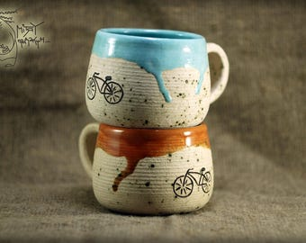 Ceramic set with Bicycle, Ceramic mug, Pottery teacup 10 Oz, white cup, clay mug,  Bicycle decor, house warming gift, handmade teacup