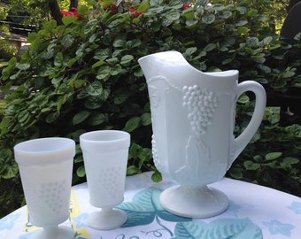 Vintage Large Milk Glass Indiana Harvest with Grapes Footed Pitcher