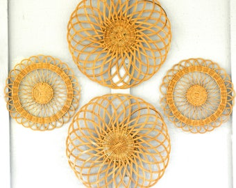 Basket collection, wall, wicker, charger, set, 1970s