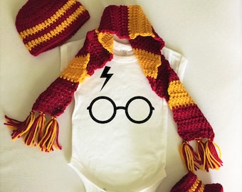 Harry Potter Baby Bodysuit Onesie Glasses with Bolt Hat Boots Scarf  Set Costume Newborn Infant Gryffindor Hufflepuff Ravenclaw Slytherin