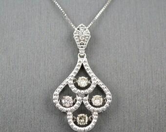 dancing DIAMOND NECKLACE IN 14 karat white gold and .45 carat diamonds, dancing  diamond necklace, gorgeous dancing  diamond necklace