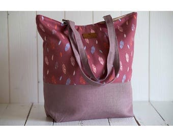 Bag Tote creator in old linen pink and cotton printed feathers original creation