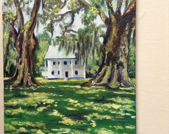 Two Oaks and White Plantation House Acrylic Painting
