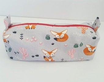 Fox pouch, makeup bag, cosmetic pouch, pencil case,travel pouches