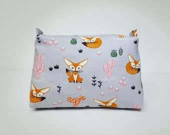 Fox heart pouch, travel pouch,cosmetic pouch, makeup bag
