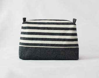 Jean stripes pouch, travel pouch, stripes pouch, makeup bag, cosmetic pouch