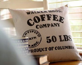 "Coffee Sack - pillow cover (18""x18"")"