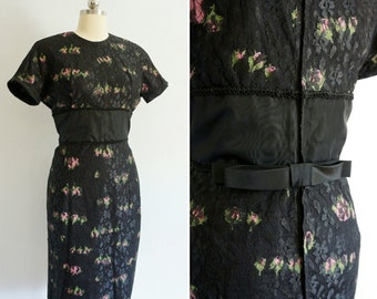 1950s Rose black lace dress | 50s vintage black dress | vintage lace dress