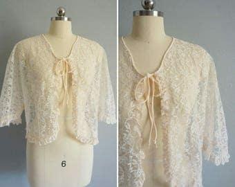 1960s Au Lait lace jacket | vintage 60s lace | 60s lace jacket
