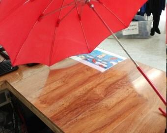 vintage Baruch Petranker red spring loaded umbrella