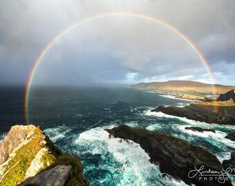 "Double Rainbow Wall Art | ""Pot of Gold"" | Ring of Kerry Rainbow Photo | Double Rainbow Picture - Ireland Photo - Inspiration Rainbow Decor"