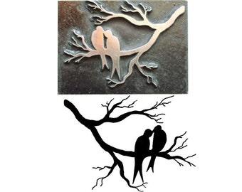 love birds inspired printing stamp