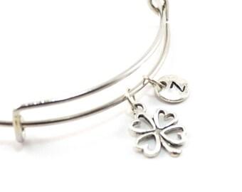 FOUR-LEAF CLOVER charm bangle, lucky charm bracelet, personalized bangle, initial bangle, personalized jewelry, initial jewelry, monogram