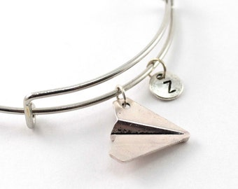 PAPER AIRPLANE bangle, silver jet bracelet, origami plane charm, initial bracelet, adjustable bangle, personalized jewelry, birthstone