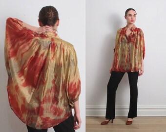 80s Gold Copper Tie Dye Poncho Shirt / S-M