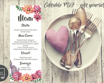 Editable Succulent Wedding MenuTemplate, Floral Wedding Menu Card, Wedding Menu Printable, Editable PDF, Personalize yourself at home