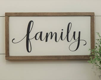 Family Sign - Framed Family Sign - Wood Family Sign - Rustic Family Sign - Framed Wood Sign - Wood Sign - Home Decor - Wooden Family Sign