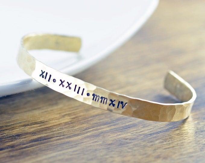 Custom Bracelet - Roman Numeral Bracelet - Mantra Band - Mantra Bracelet - Cuff Bracelet - Personalized Cuff - Personalized Jewelry