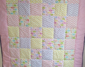 Elephant patchwork baby blanket quilt pastel colours for nursery or girls bedroom