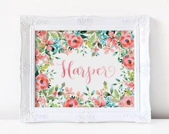 Personalized Baby Gift, Personalized Nursery Print, Floral Nursery Decor. Girl Nursery Wall Art. Floral Wall Art. Teal Pink Nursery Decor.