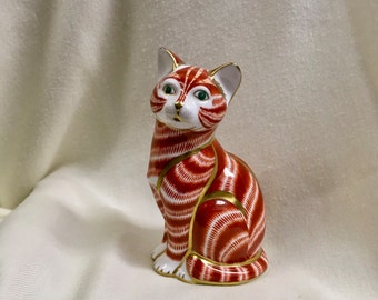Royal Crown Derby ginger cat paperweight figurine