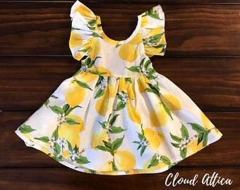 Backless Lemon Summer Sun Dress Baby/Toddler