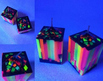 Cube candle with fluorescent stripes inlaid