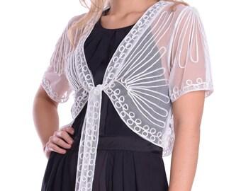 Elegant Evening Sheer Short Sleeve Lace Bolero Shrug Lace Tulle Ivory White
