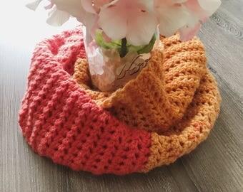 Orange Crochet Cowl | Crocheted Cowl | Crochet Scarf | Infinity Scarf | Crochet Infinity Scarf | Orange Infinity Scarf