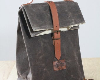 Lunch Bags waxed canvas / bag of canvas waxed / bag of lunch / Waxed canvas / lunch / sac a lunch
