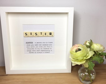 Scrabble wall art, Scrabble picture, Sister gift, Auntie gift, Godmother gift, Birthday gift for sister
