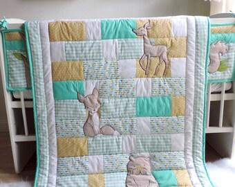 Woodland Nursery Bedding Set - Mint Patchwork Baby Quilt - Gender Neutral Crib Bedding - Crib Bumper - Cot Bumper - Fox Bunny Bear Quilt -