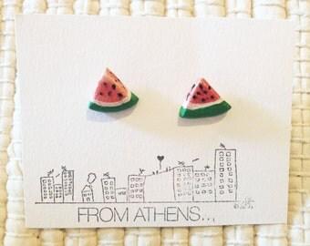 Watermelon ceramic earrings