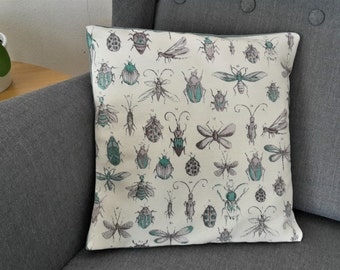 Blue beetle pillowcase, entomology pillow in various sizes