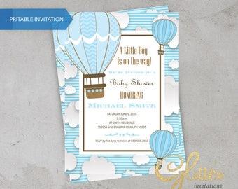 Hot Air balloon Baby Shower invitation,digital baby shower invitation, boy invitation, clouds, blue