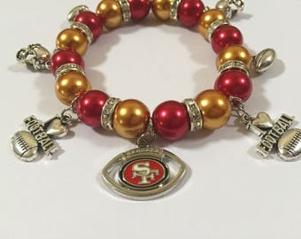 San Francisco 49ers Charm bracelet 8in stretch