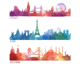 Watercolour London Paris Istanbul 3 Clip Art Digital Download PNG Vector AI High Resolution S317
