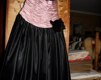 black and pink 80's evening dress with net petticoats