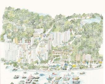 Hong Kong Postcard - Aberdeen 香港仔