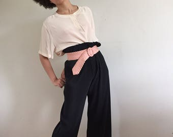 Black Micro Pleat Flowy Wide Leg High Waisted Pants Paperbag Waist