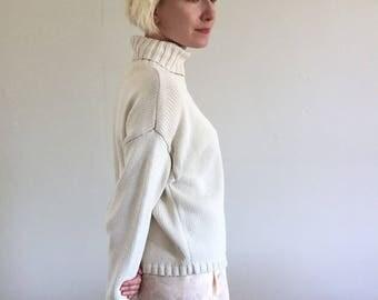 Ivory 100% Cotton Knitted Cropped Boxy Turtleneck Minimalist Sweater