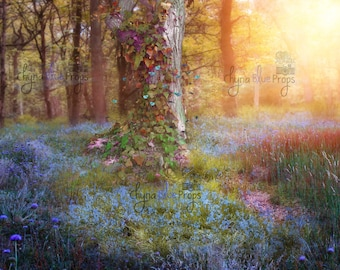 Woodland Digital background (stock image, fairytale forest) instant download
