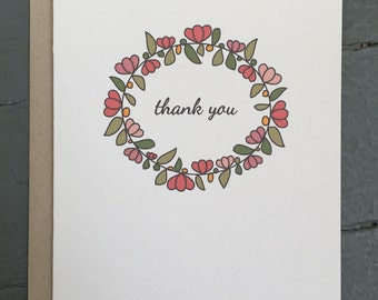Floral Wreath Thank You Card - Set of 8