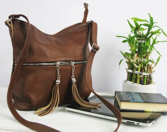 Small Crossbody Leather Bag, brown leather purse, crossbody purse, cognac leather shoulder bag, everyday bag, leather bag, leather tassels