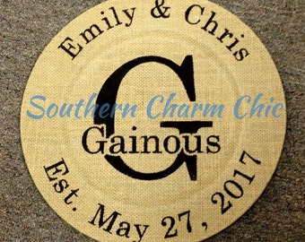 Burlap Plate with Family Name