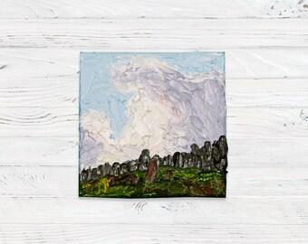 Mini Oil Landscape Palette Knife Painting of Clouds with Mini Easel - Landscape Painting - Oil Painting - Painting - Painting on Canvas