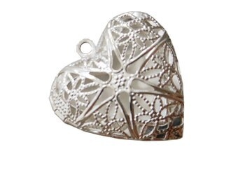 1 x Filigree Locket Heart Charm. Jewellery Making