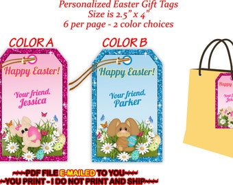 Easter favors etsy you print personalized easter gift tags easter favor tags easter tags easter negle Choice Image