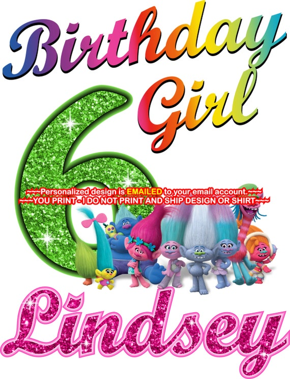 Trolls Birthday Girl Printable Iron On Transfer